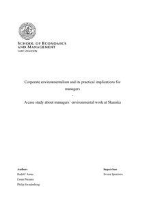 Corporate environmentalism and its practical implications for ...