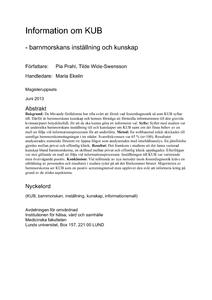 Information Om Kub Barnmorskans Installning Och Kunskap