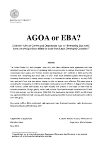 agoa thesis Agoa south africa suspension chicken  the african growth and opportunity  act (agoa) has received much publicity and attention over the.