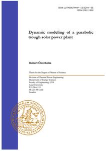 Dynamic Modeling of a Parabolic Trough Solar Power Plant