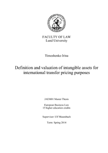 Definition and valuation of intangible assets for
