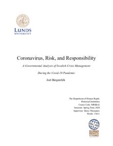 Coronavirus Risk And Responsibility